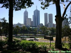 Skyline Melbourne vom Royal Botanical Garden